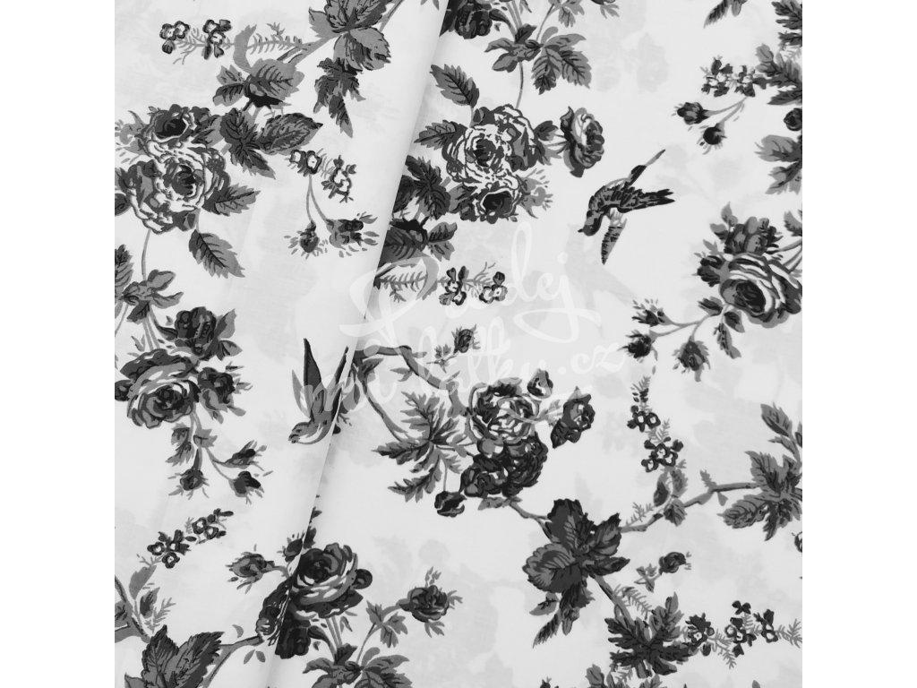 Plátno - Růže, šedé š. 160