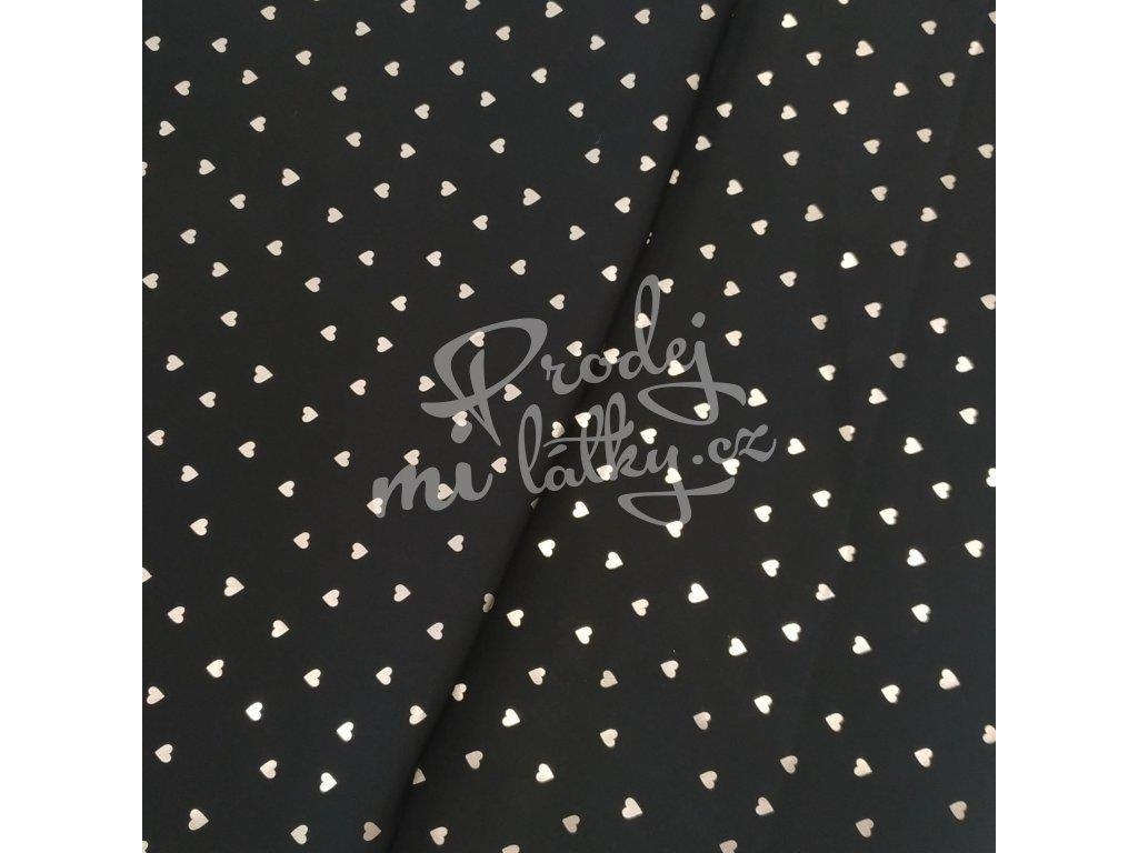 Zimní softshell 10/3 - Stříbrná srdíčka na černé