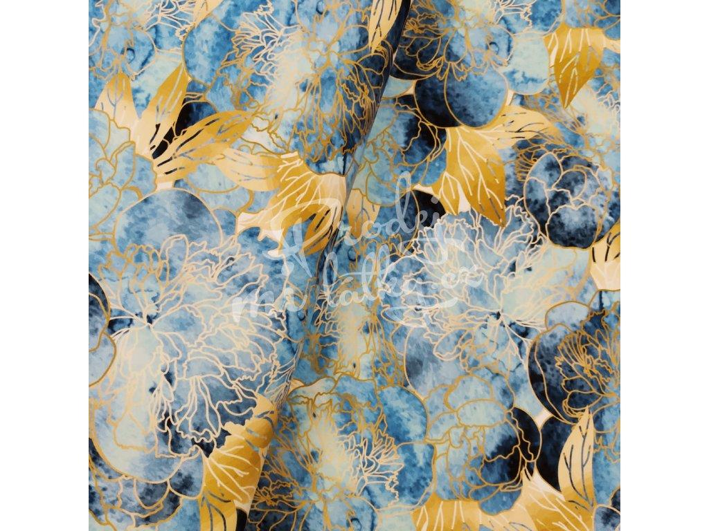 Teplákovina - Modro-zlaté květy š. 180