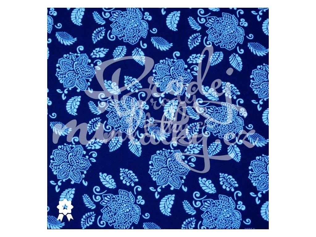 27524e20d0b Zimní softshell - Ornamenty na tmavě modré - prodej-mi-latky.cz
