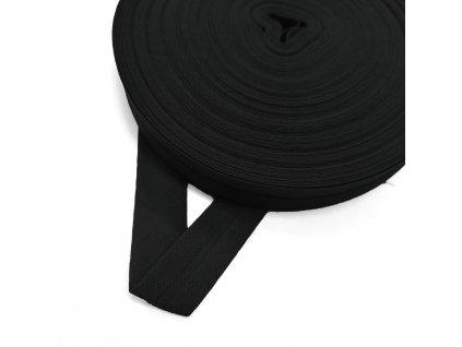 2013 Šikmý proužek bavlněný 14 mm zažehlený Černá