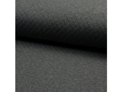 2086 Prošívaná teplákovina Tmavě šedá, melanž