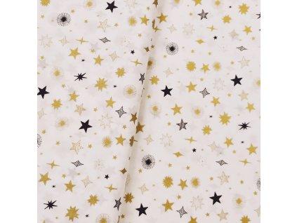 DOSTŘIH: Vánoční plátno - Hvězdy na smetanové š. 145 - 1M