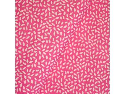 1446 Plátno Lístečky, růžová