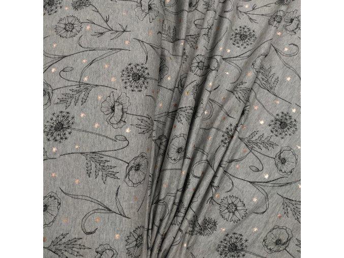 Úplet - Botanica, šedá melanž se zlatým tiskem