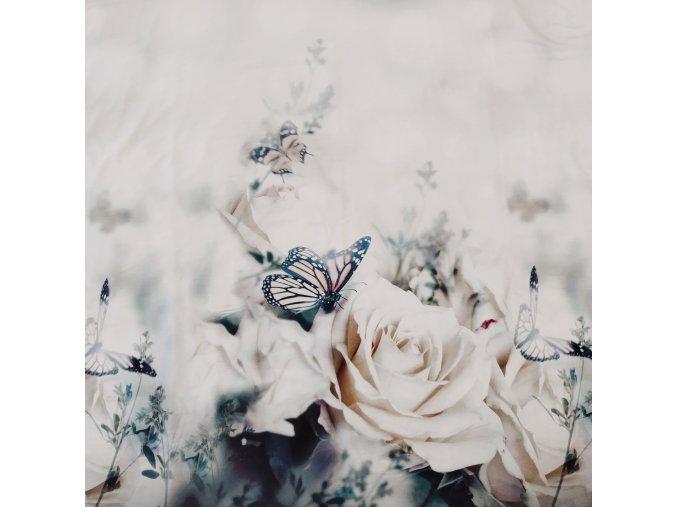 Viskózový úplet, panel - Růže 73x175cm