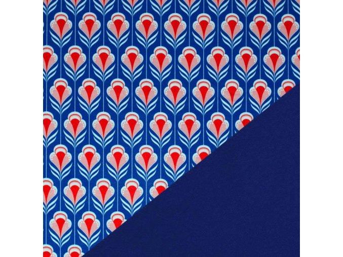 576 Retro květy červeno modrá