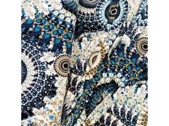 Viskózový úplet - Modré mandaly