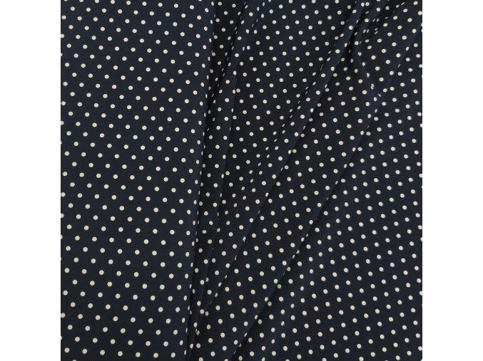 Umělé hedvábí   Silky - Bílé puntíky na tmavě modré