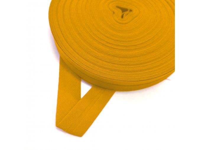 2008 Šikmý proužek bavlněný 14 mm zažehlený Žlutá