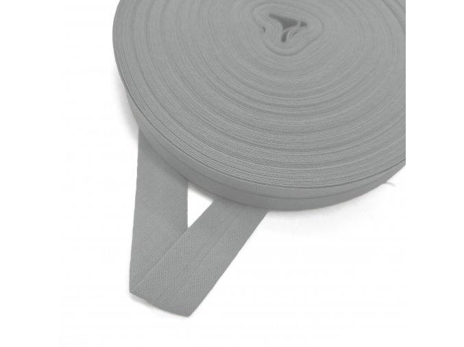 2014 Šikmý proužek bavlněný 14 mm zažehlený Stříbrná, světle šedá