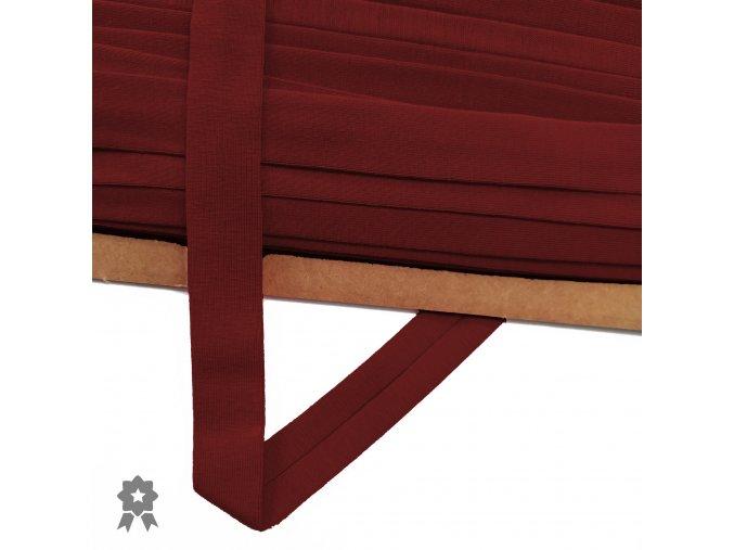 2023 Úpletový, šikmý proužek 20 mm zažehlený Tmavě červená