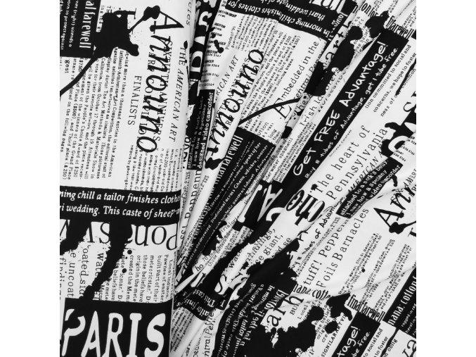 Viskózový úplet - Noviny, bílá