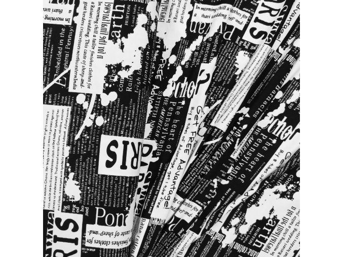 Viskózový úplet - Noviny, černá