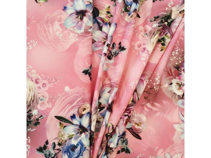 Umělé hedvábí   Silky - Kytice, růžová