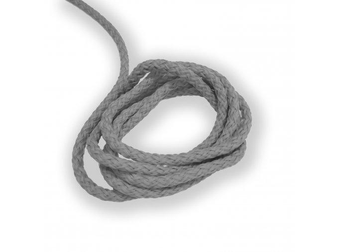 Oděvní šňůra kulatá PES, 4mm Světle šedá, stříbrná 2049