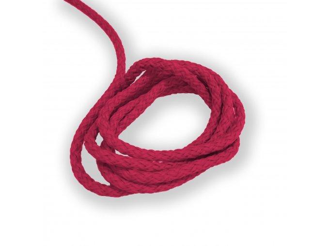 Oděvní šňůra kulatá PES, 4mm Tmavě růžová