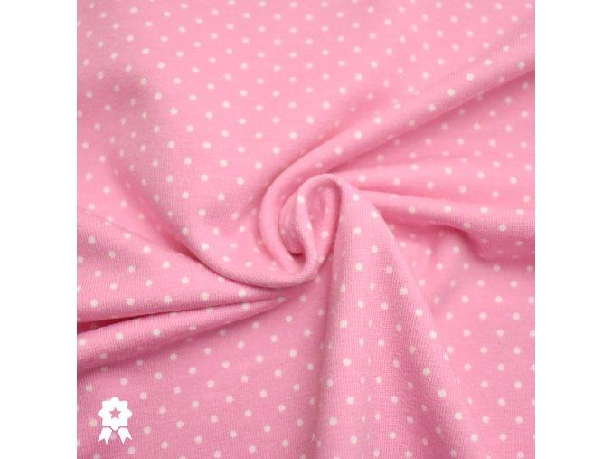 809 Bílé puntíky 0,2cm na růžové 1