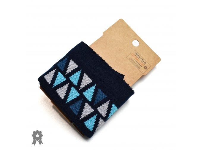 870 Designový náplet Modro šedé trojúheníky na tmavě modré