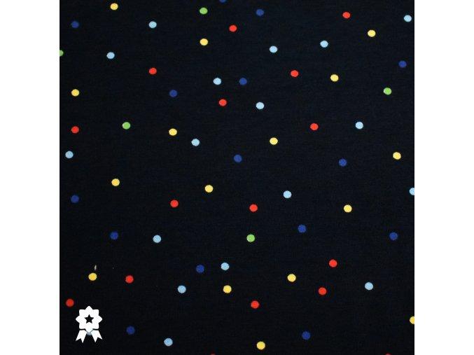 872 Barevné puntíky na tmavě modré