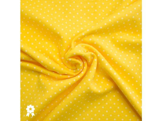 907 Bílé puntíky 0,2cm na žluté