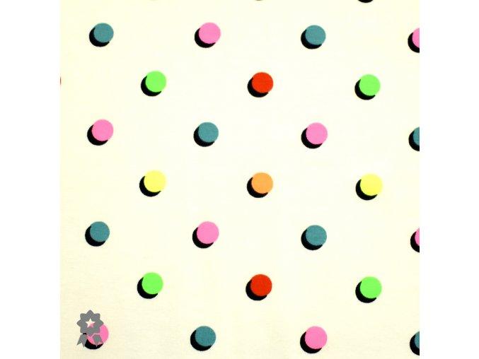 1006 Neonové, puntíky na smetanové