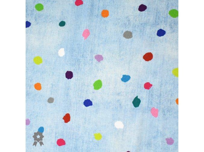 1187 Úplet Barevné puntíky na světlý jeans