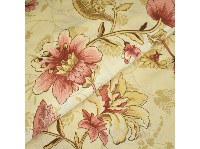 1304 Plátno Květy na smetanové