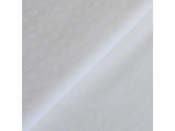 1340 Plátno Bílé lístečky na bílé