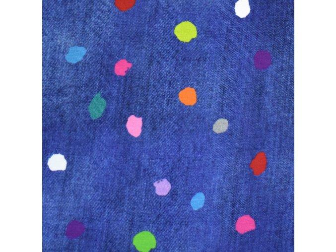 1413 Úplet Barevné puntíky na tmavý jeans