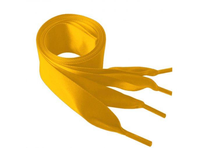 1436 Saténové tkaničky do mikin, 110cm žlutá
