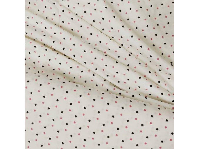 Bavlněný úplet - Růžový puntík malý, šíře 2m