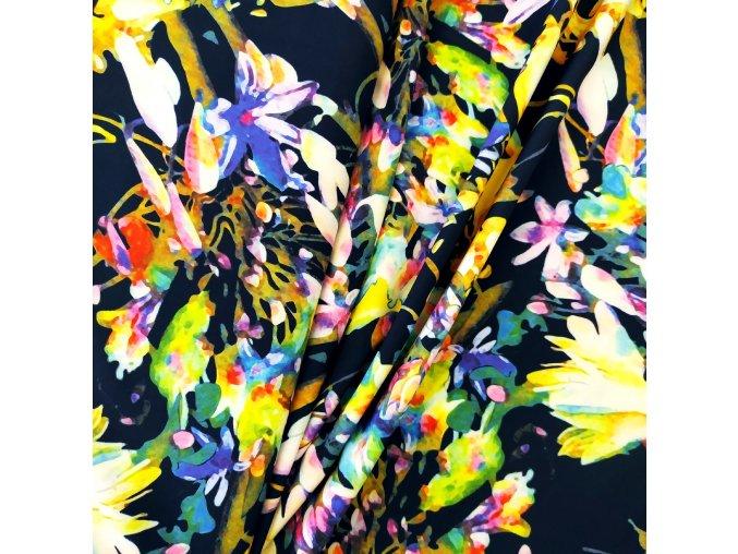 Umělé hedvábí | Silky - Květy na modré