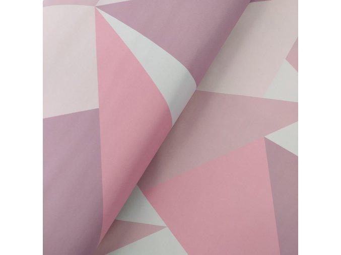 Zimní softshell - Trojúhelníkový maskáč - růžová