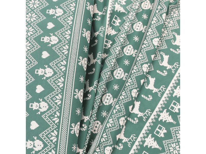 Teplákovina - Nordický vzor, zelená
