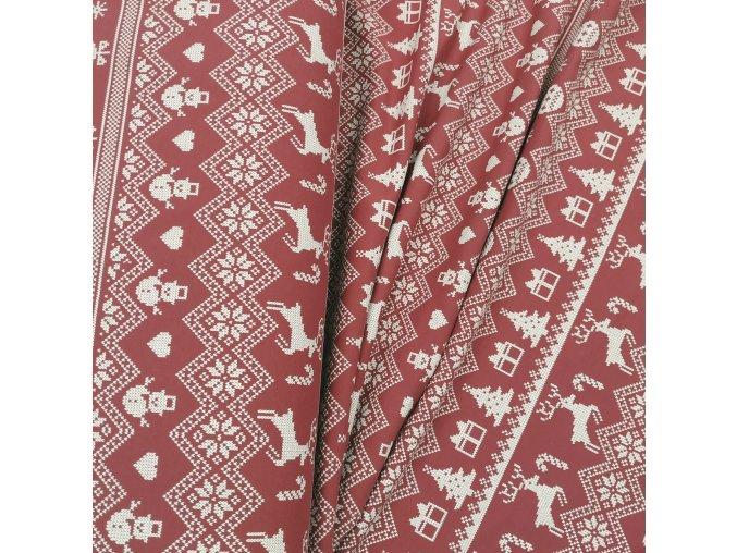 Teplákovina - Nordický vzor, červená