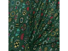 Warmkeeper - Broučci, vážky, kytičky na tmavě zelené
