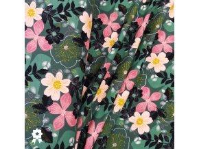 1736 Teplákovina Květy na zelené