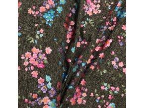 Fitness úplet - Květy, růžovo-modrý metalický tisk