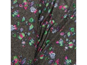 Fitness úplet - Květy, růžovo-zelený metalický tisk
