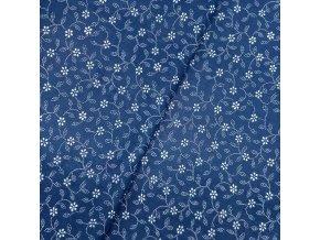 Plátno - Modrotisk, kytičky