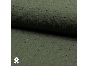 1898 Dvojitá gázovina mušelín Embroidery Zelená