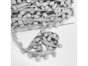 2080 Prýmek s bambulkami 20mm Stříbrná, šedá