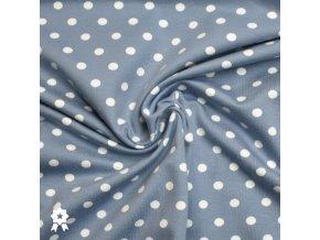 717 Bílé puntíky 0,7cm na světlém jeans 3