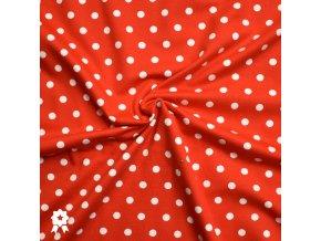 713 Bílé puntíky 0,7cm na červené