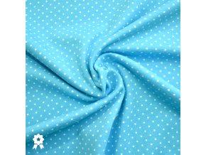 908 Bílé puntíky 0,2cm na modré