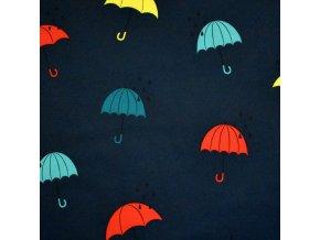 1032 Deštníky na tmavě modré