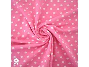 1265 Úplet Bílé puntíky 0,7cm na růžové