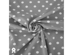 1267 Úplet Bílé puntíky 0,7cm na šedé