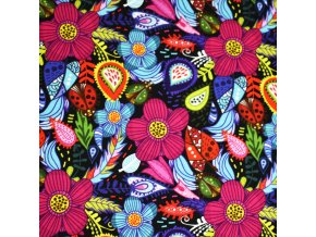 1351 Teplákovina Květy na černé